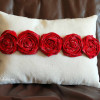 Red Rosette Canvas Pillow