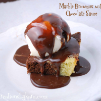 Marble Brownies with Chocolate Sauce