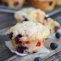 Lemon Blueberry Cherry Muffins (4th of July Recipe)