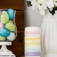 Yarn Wrapped Pillar Candles for Easter