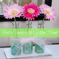 Mother's Day Bottle Vases with Martha Stewart Glitter Paint