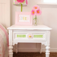 Stenciled White Nightstand with Vintage Decor Paint