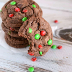 M&M Chocolate Christmas Cookies