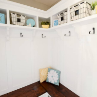 Corner Mudroom Bench with Cubbies and Shelves