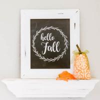 Hello Fall Printable (Chalkboard or Black & White)
