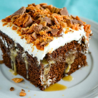 Chocolate Butterfinger Poke Cake Recipe