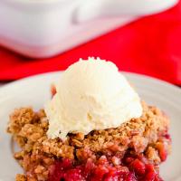 Amazing Raspberry Rhubarb Crisp with Oatmeal Topping