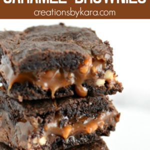 stack of decadent caramel brownies