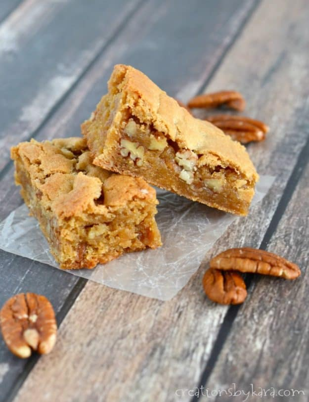 side shot of butterscotch blondies with pecans