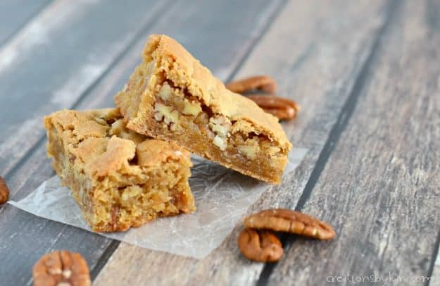 We love these buttery and delicious Butterscotch Bars. You can whip up a batch in minutes!
