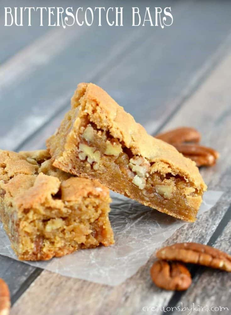 Rich and chewy butterscotch bars with pecans. Everyone loves these rich bars! #butterscotchbars #butterscotchblondies