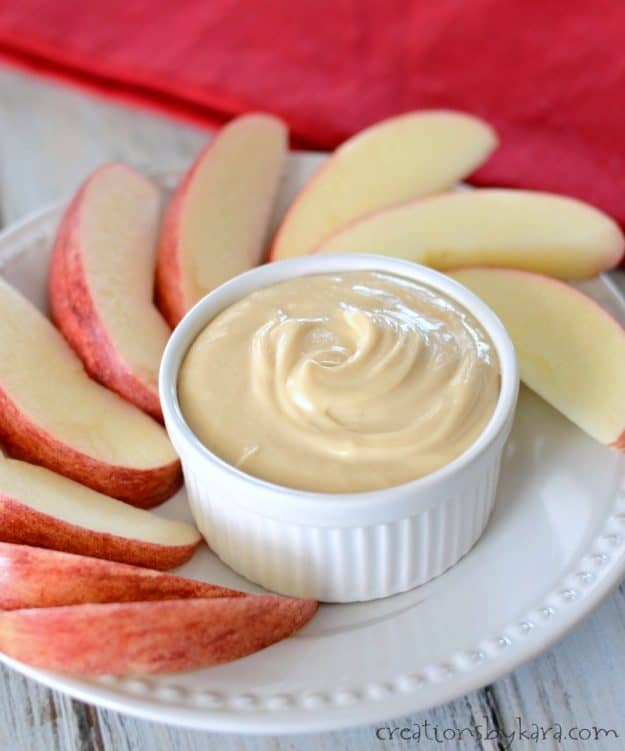 Simple caramel apple dip - creamy and delicious, and so easy to make. #carameldip #appledip #fruitdip