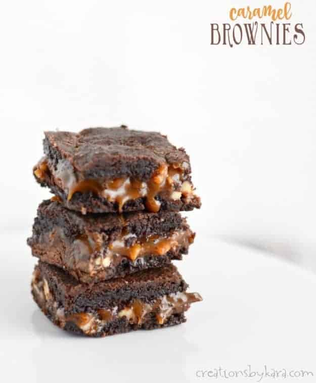 Decadent Caramel Brownies - no one can resist these brownies with a layer of caramel in the middle. A mouthwatering brownie recipe!