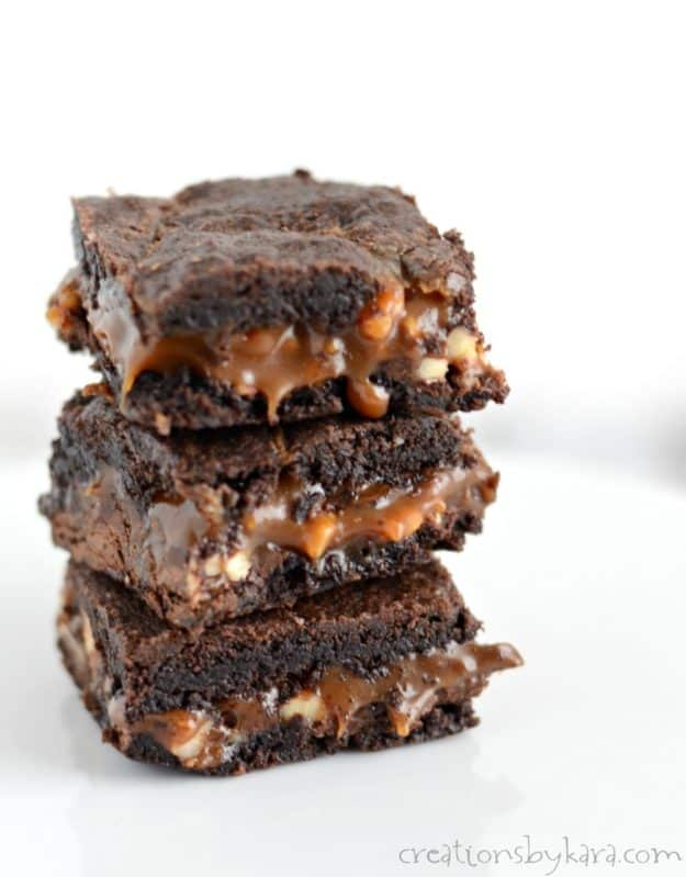 These caramel brownies are some of the most decadent brownies you will ever taste. This brownie recipe is always a crowd pleaser!