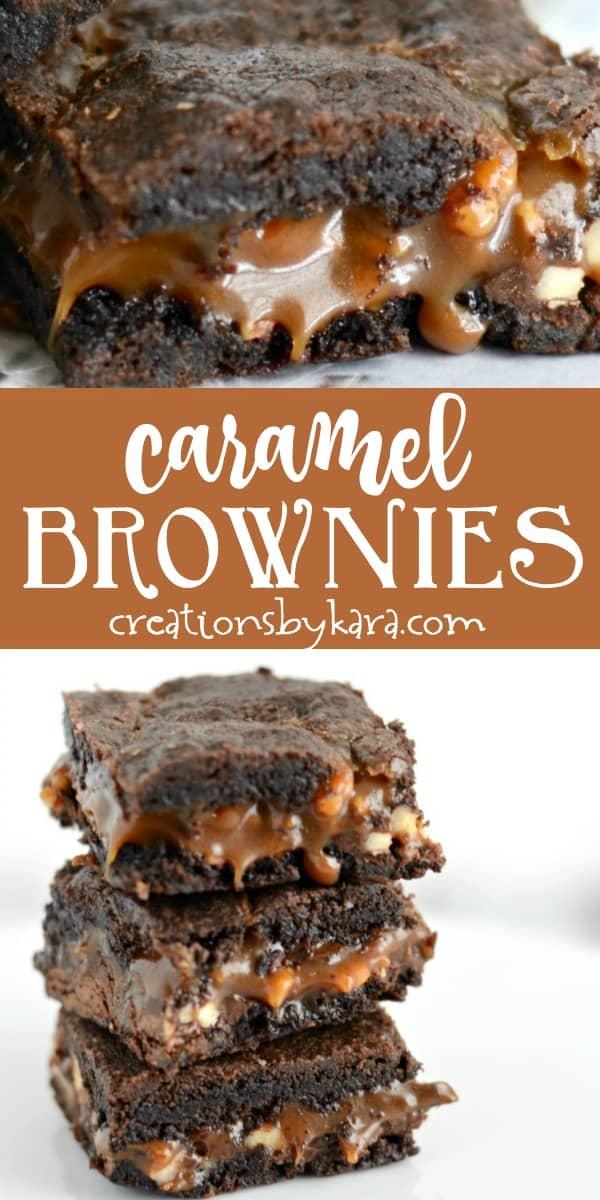 caramel brownies recipe collage