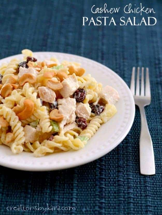 This Cashew Chicken Pasta Salad gets rave reviews every time I serve it. Loaded with yummy flavors and textures, it is always a hit! One of the best chicken salads you will ever eat.