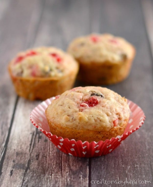 Need a cute, yummy recipe for Valentines Day? Give these Cherry Chocolate Chip Muffins a try!