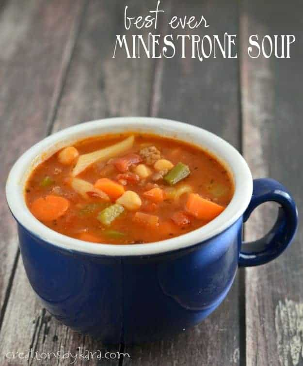best ever minestrone soup in a blue bowl