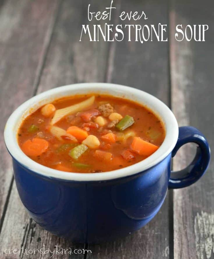 Loaded with vegetables, ground beef, and pasta, this Minestrone Soup is hearty and healthy! #minestronesoup #minestrone #soup #creationsbykara