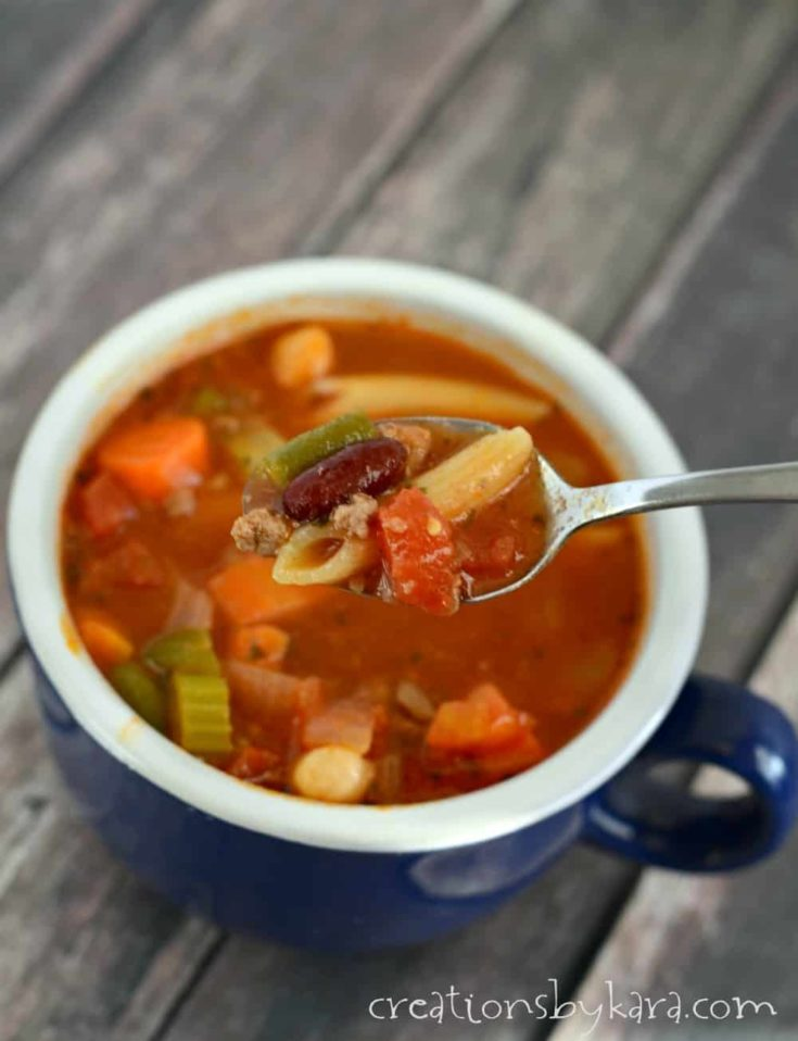 With ground beef, beans, veggies, and pasta, this Minestrone Soup recipe is hearty and delicious!