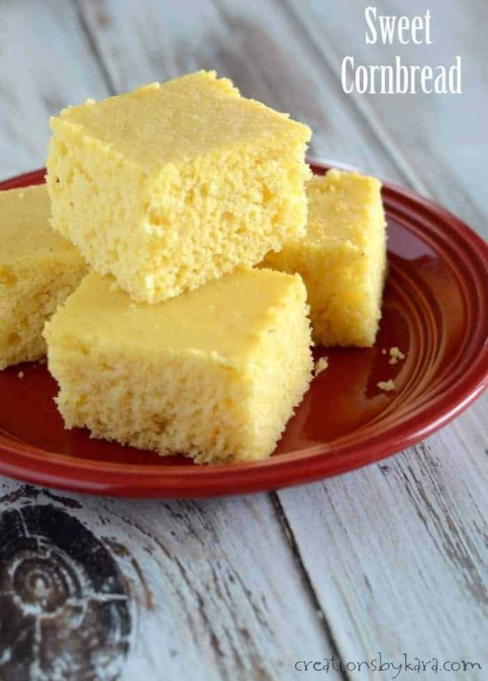 slices of sweet cornbread on a plate