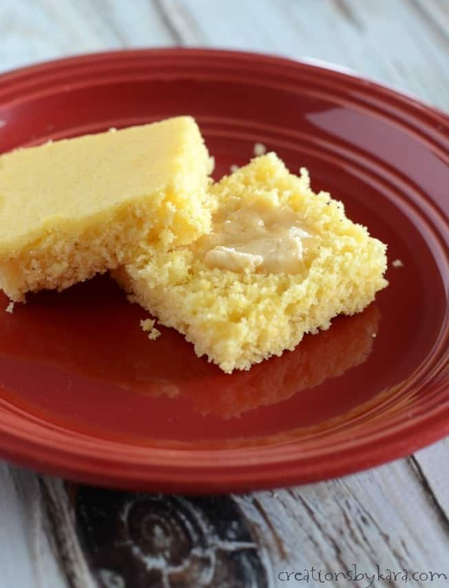 slice of sweet cornbread with honey butter