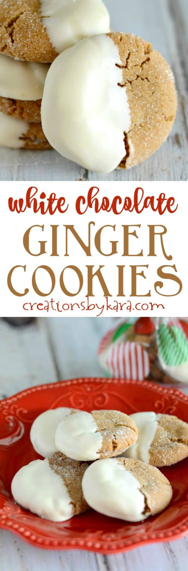 Recipe for the best ginger cookies dipped in white chocolate. Soft, chewy, spicy, and yummy. A perfect Christmas cookie recipe. I always receive recipe requests for these ginger cookies!