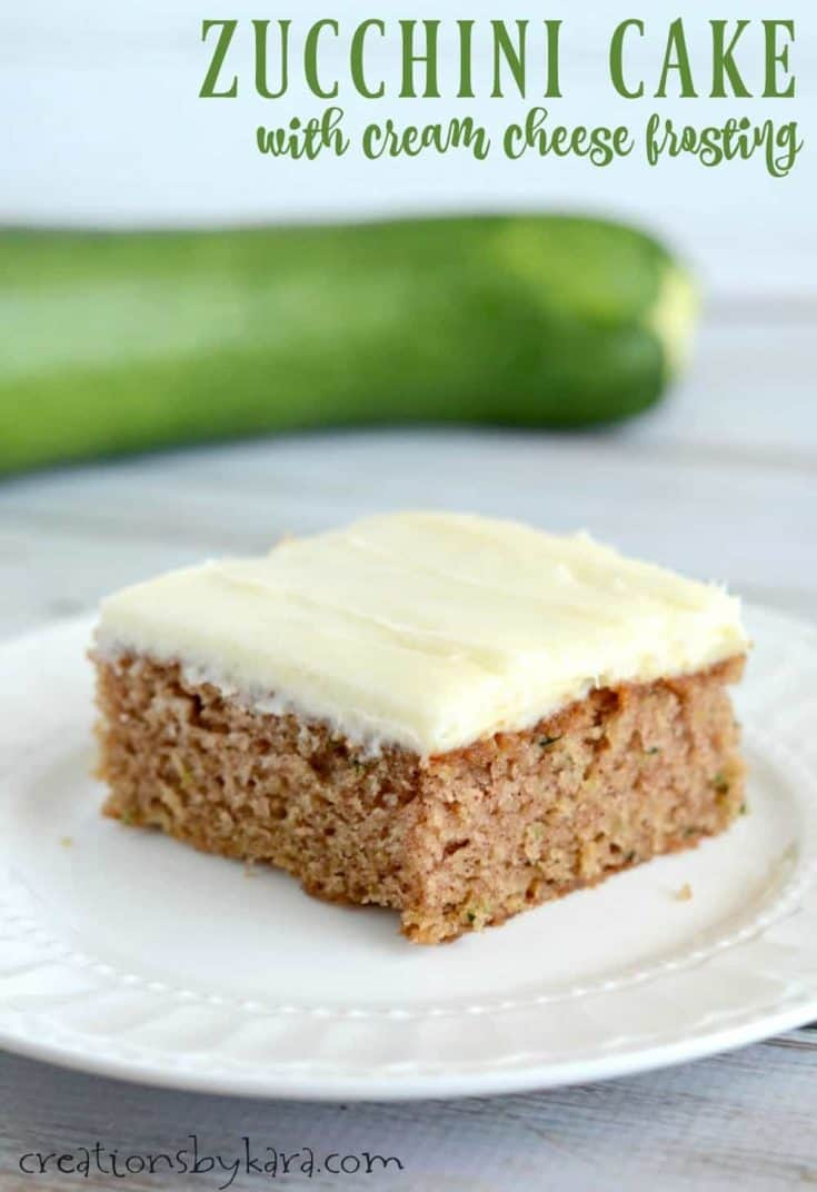 Perfectly spiced zucchini cake with tangy cream cheese frosting.
