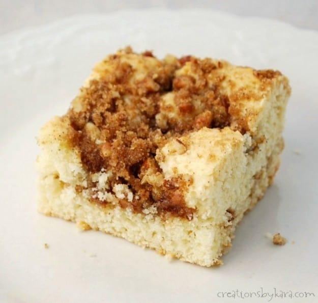 This Cinnamon Coffee Cake with two layers of cinnamon crumbs is sure to be a family favorite!