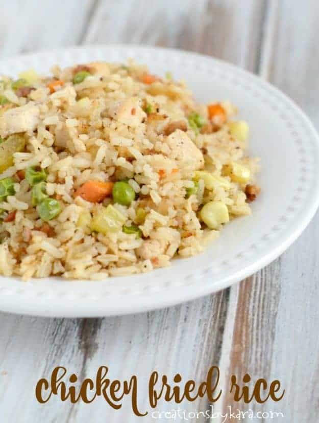 Chicken fried rice - an easy and delicious chicken recipe. A great way to use leftover rice.