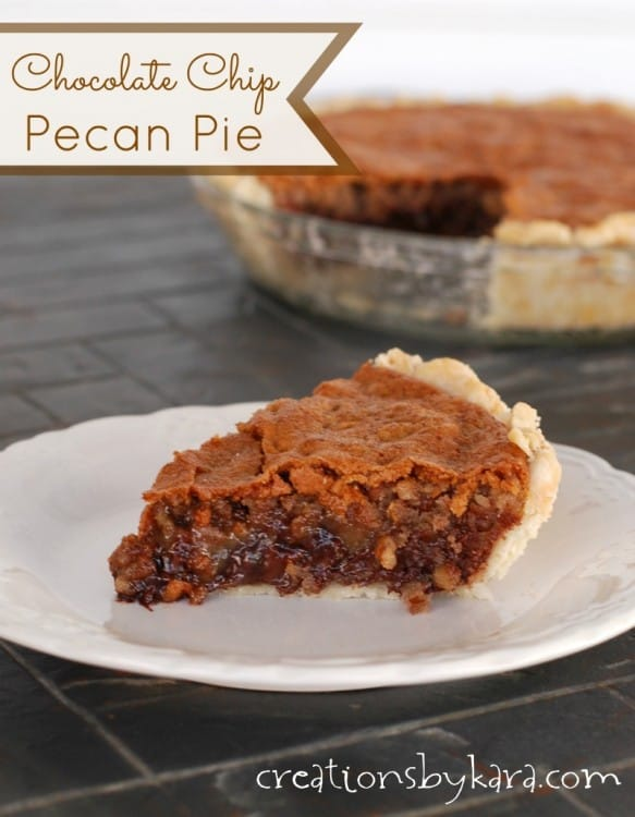 Rich and decadent Chocolate Chip Pecan Pie - a perfect pie for chocolate fans! It is great served warm or cold.