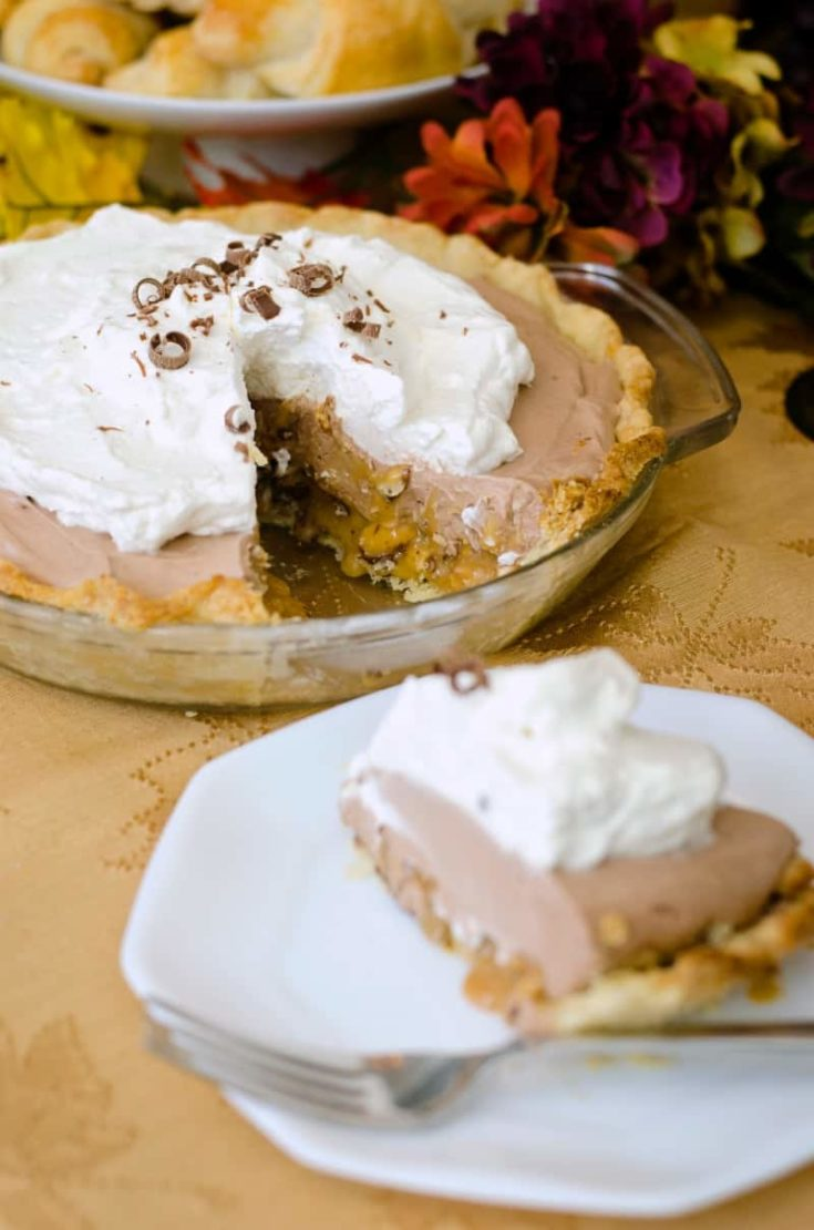 Creamy Chocolate Pie with a layer of caramel and salted peanuts. To die for!