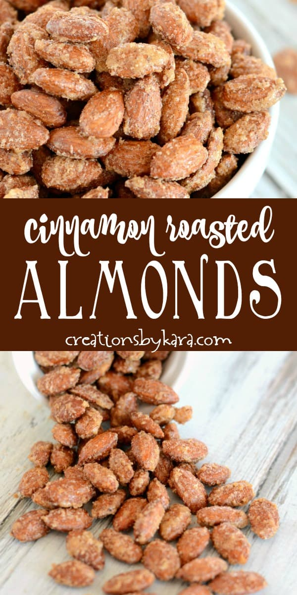 cinnamon roasted almonds recipe collage