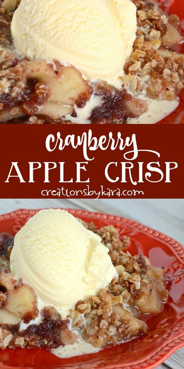 cranberry apple crisp recipe collage