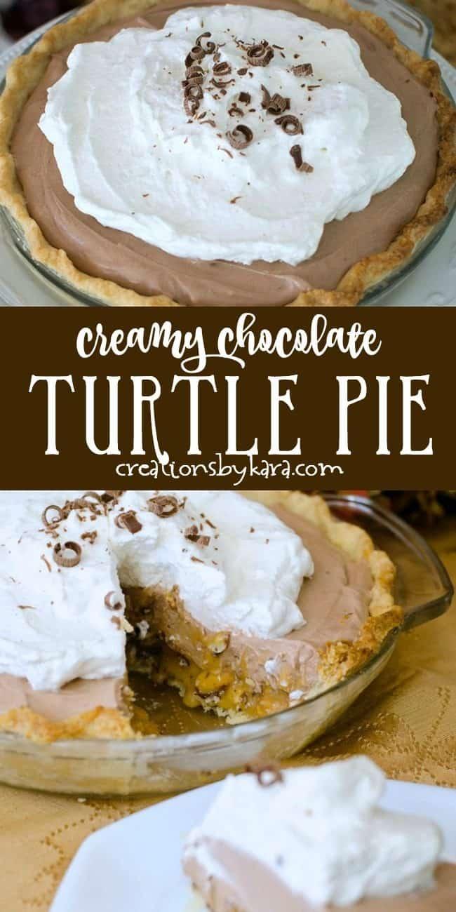 creamy chocolate turtle pie recipe collage