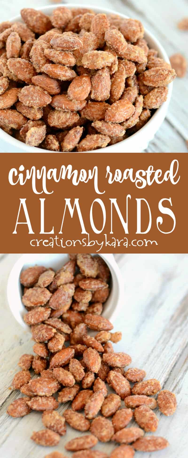 Simple Cinnamon Roasted Almonds are always a favorite snack! Easy and addicting. #almonds #snacks #cinnamon