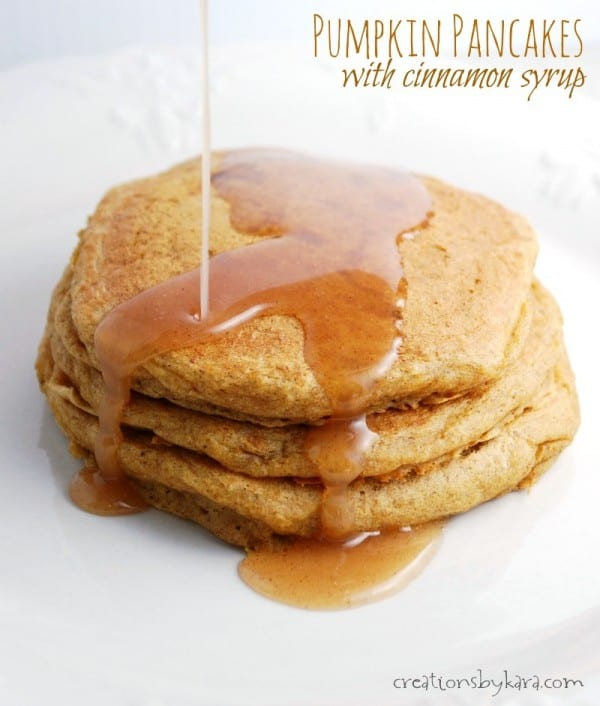 Recipe for Pumpkin Pancakes with homemade Cinnamon Syrup. Delicious!