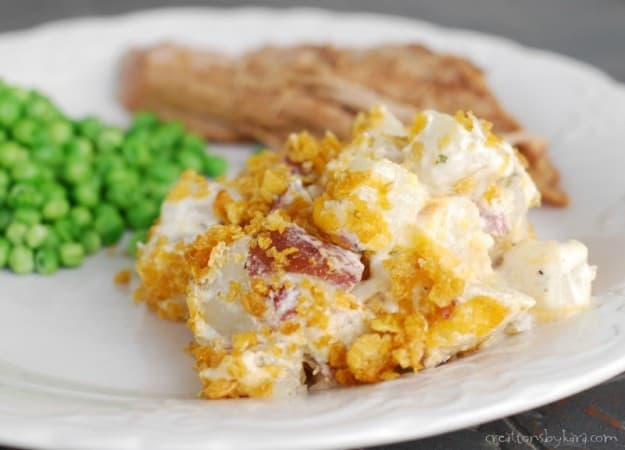 Red Potatoes with cheese, bacon, and ranch.