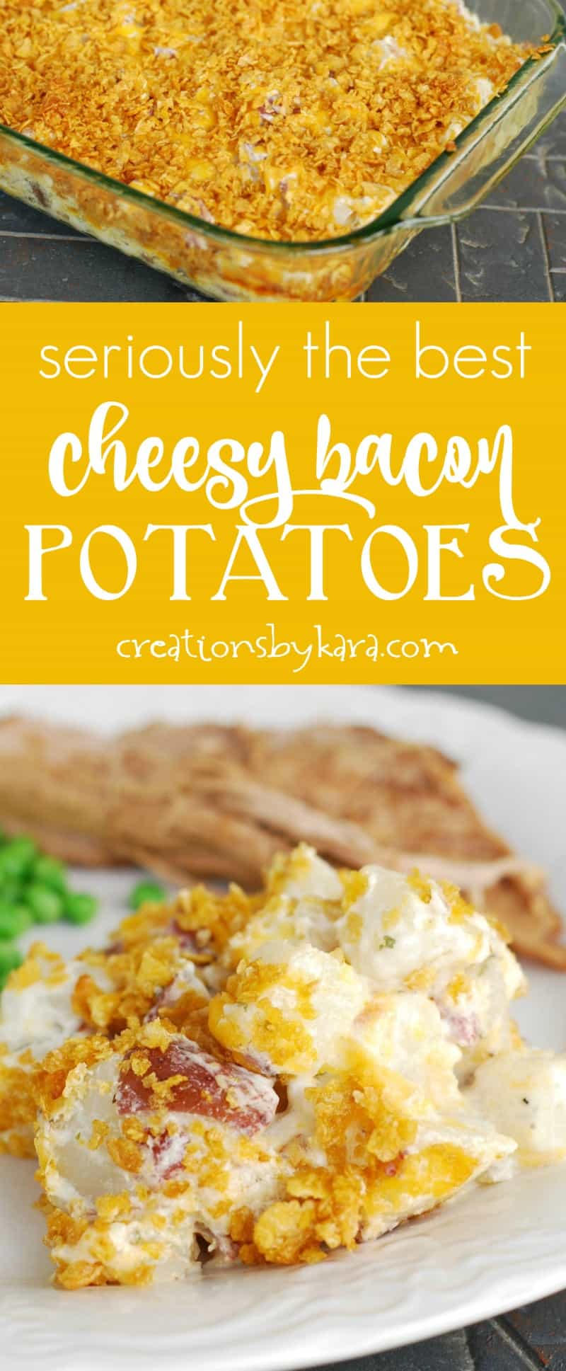 These Cheesy Ranch Red Potatoes make a perfect side dish! They are some of the best potatoes you will ever taste. #potatoes #bacon