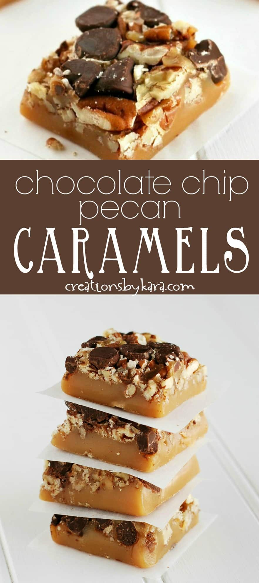 Chocolate Chip Pecan Caramels - if you love turtle candies, you must make this recipe for homemade caramels. They are so decadent! #caramels #candyrecipe