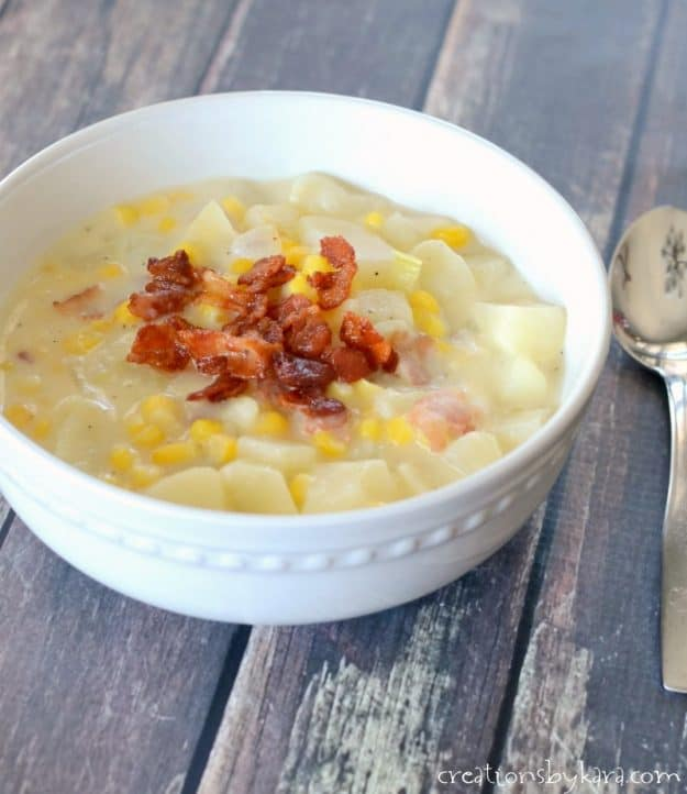 corn soup with bacon