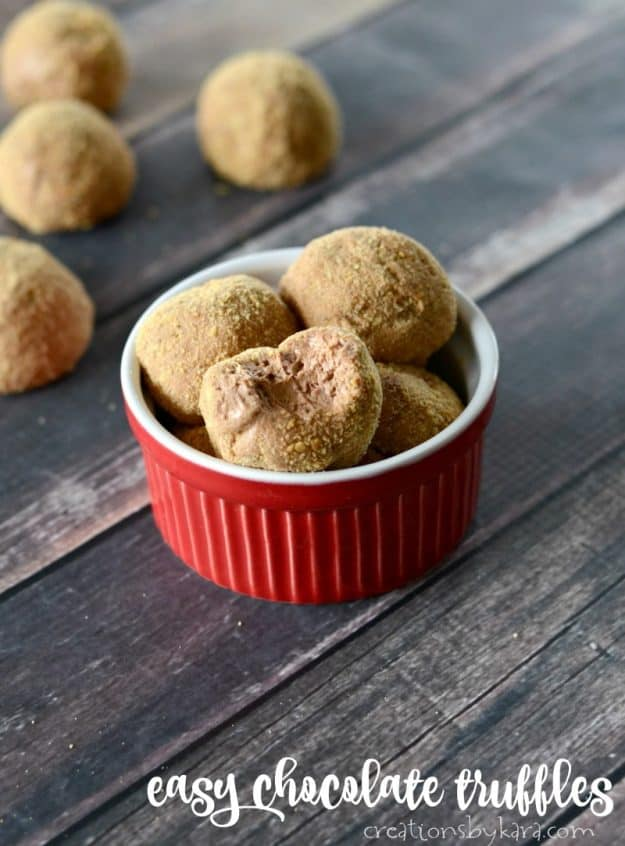 Easy Chocolate Truffle Recipe - these truffles are light and creamy!
