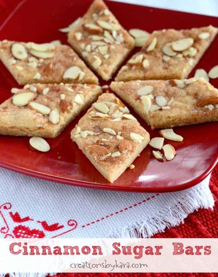 Cinnamon Sugar Almond Bars- Jan Hagels
