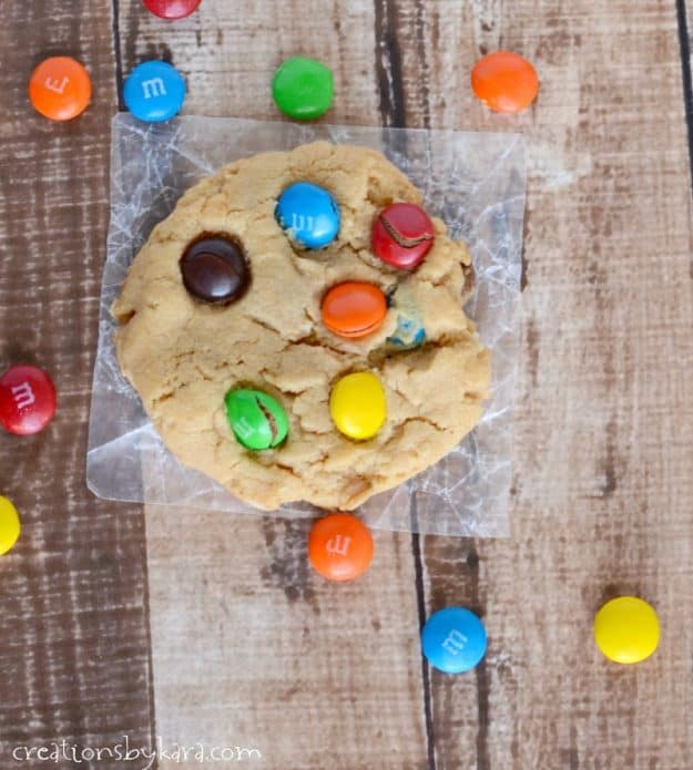 Peanut Butter Oatmeal Cookies with chocolate chips and M&M's