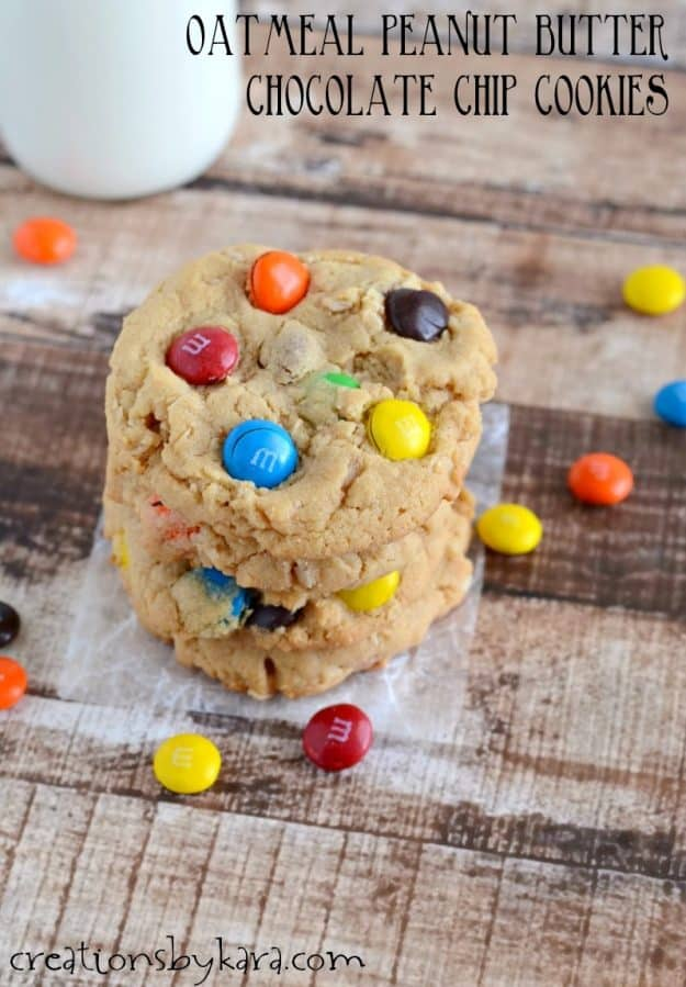 stack of chocolate chip peanut butter oatmeal cookies with M&M's