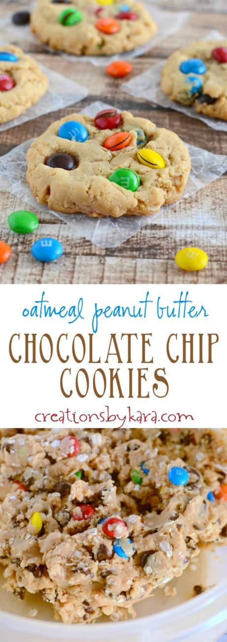 These Chocolate Chip Peanut Butter Oatmeal Cookies are sure to be a family favorite!