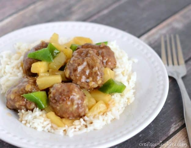 plate of sweet and sour meatballs.