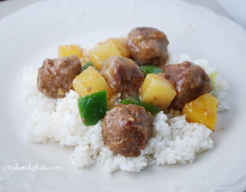 Waikiki Meatballs {Sweet and Sour Meatballs}