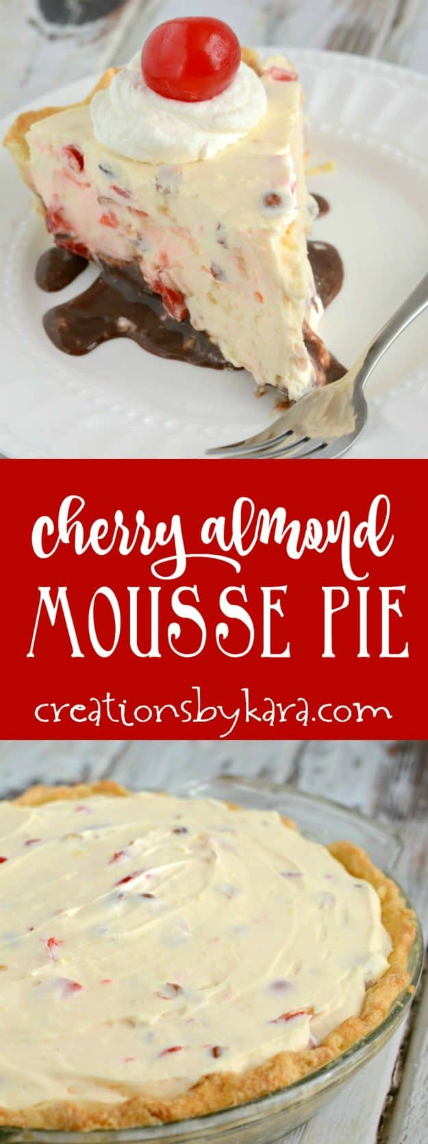 A layer of fudge, almonds, cherries, and cream cheese make this pie spectacular! My husband requests this pie for his birthday every year.