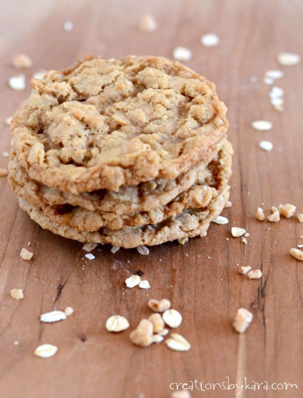 Oatmeal cookies loaded with toffee bits. A crispy, chewy oatmeal cookie recipe that everyone loves!